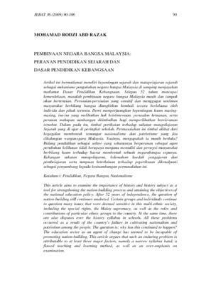 Pembinaan Negara Bangsa Malaysia Peranan Pendidikan Sejarah Dan Dasar Pendidikan Kebangsaan Core