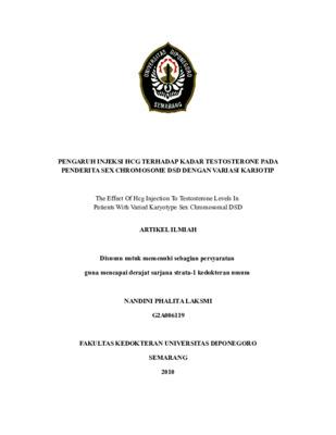 PENGARUH INJEKSI HCG TERHADAP KADAR TESTOSTERONE PADA PENDERITA SEX