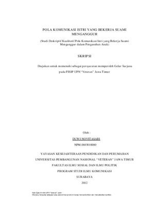 Pola Komunikasi Istri Yang Bekerja Suami Menganggur Studi Deskriptif Kualitatif Pola Komunikasi Istri Yang Bekerja Suami Menganggur Dalam Pengasuhan Anak Core
