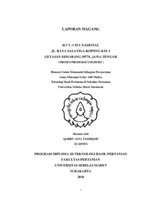 Laporan Magang Di Cv Cita Nasional Jl Raya Salatiga Kopeng Km 5 Getasan Semarang 50774 Jawa Tengah Proses Produksi Yoghurt Core