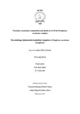 Parazitáltság, fajösszetétel és ploiditás vizsgálata a Pelophylax esculentus komplexen - CORE