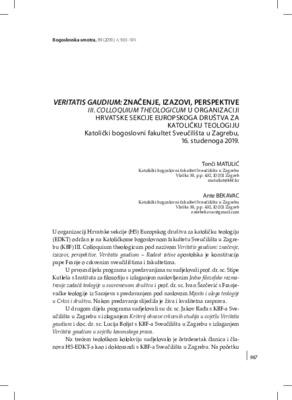 Veritatis gaudium: zna enje, izazovi, perspektive. III. Colloquium ...