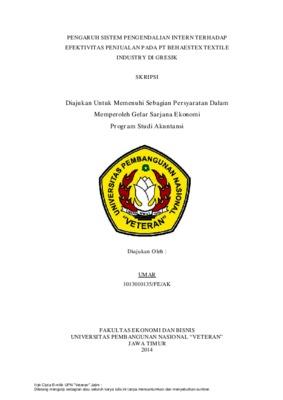 Pengaruh Sistem Pengendalian Intern Terhadap Efektivitas Penjualan Pada Pt Behaestex Textile Industry Di Gresik Core