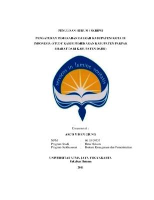 Pengaturan Pemekaran Daerah Kabupaten Kota Di Indonesia Study Kasus Pemekaran Kabupaten Pakpak Bharat Dari Kabupaten Dairi Core