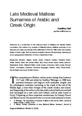 Late medieval Maltese surnames of Arabic and Greek origin - CORE