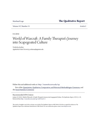 World of Warcraft: A Family Therapist\u27s Journey into