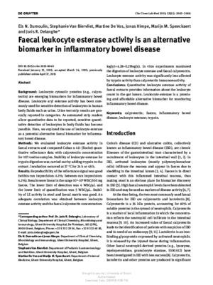 Faecal leukocyte esterase activity is an alternative