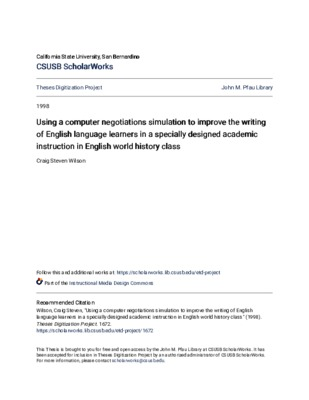 Using A Computer Negotiations Simulation To Improve The Writing Of English Language Learners In A Specially Designed Academic Instruction In English World History Class Core Reader